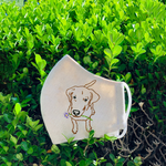 [CLEARANCE SALE] Labrador Retriever Hand Embroidery Linen Face Mask