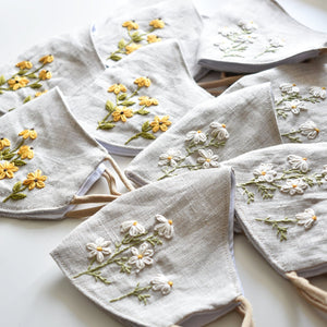[BIG PROMO] Hand Embroidered Face Mask, Chamomile and Black Eyed Susan