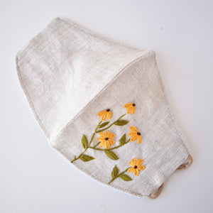 Hand Embroidered Face Mask, Chamomile and Black Eyed Susan