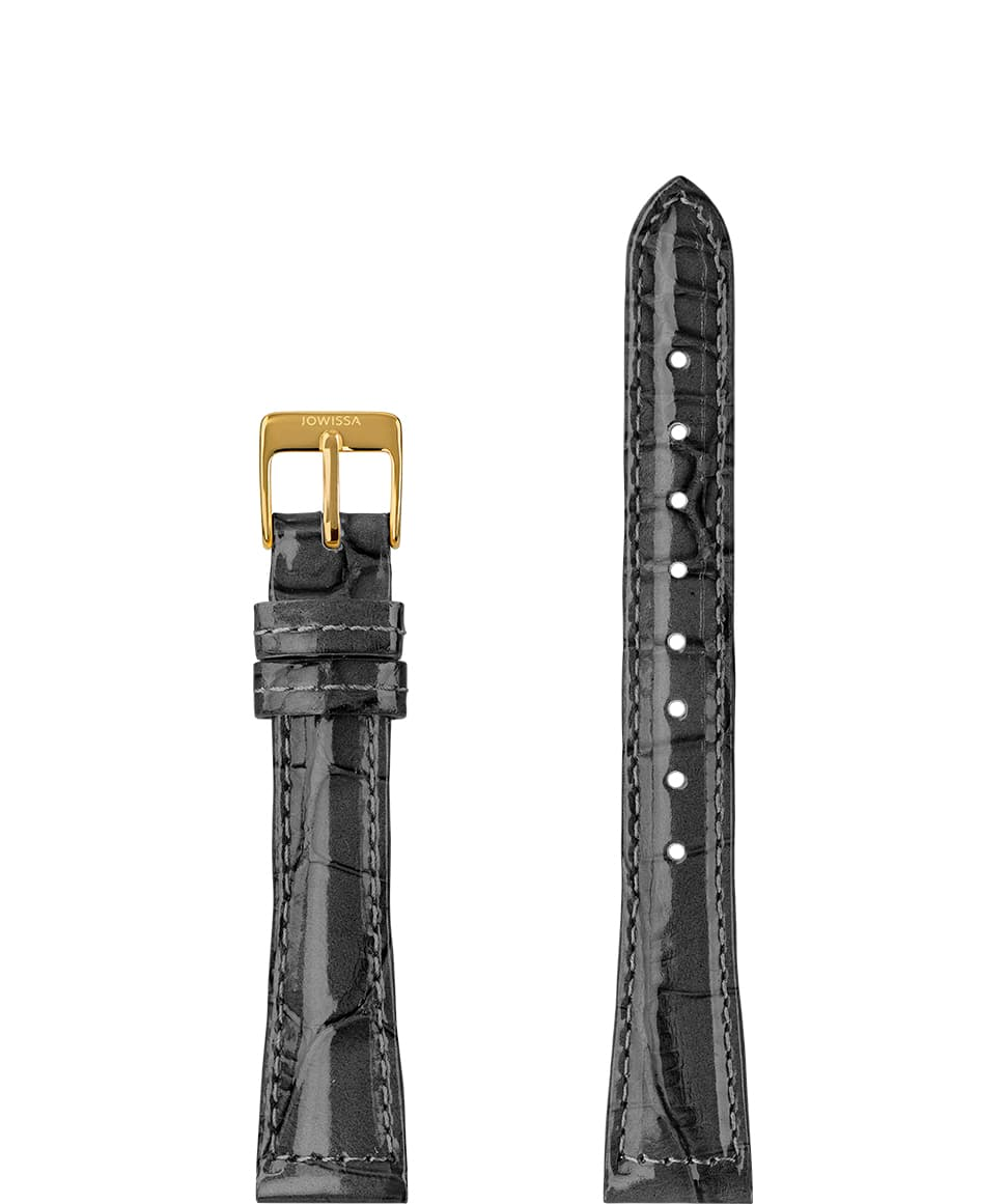 Front View of 15mm Grey / Gold Glossy Croco Watch Strap E3.1468.M by Jowissa