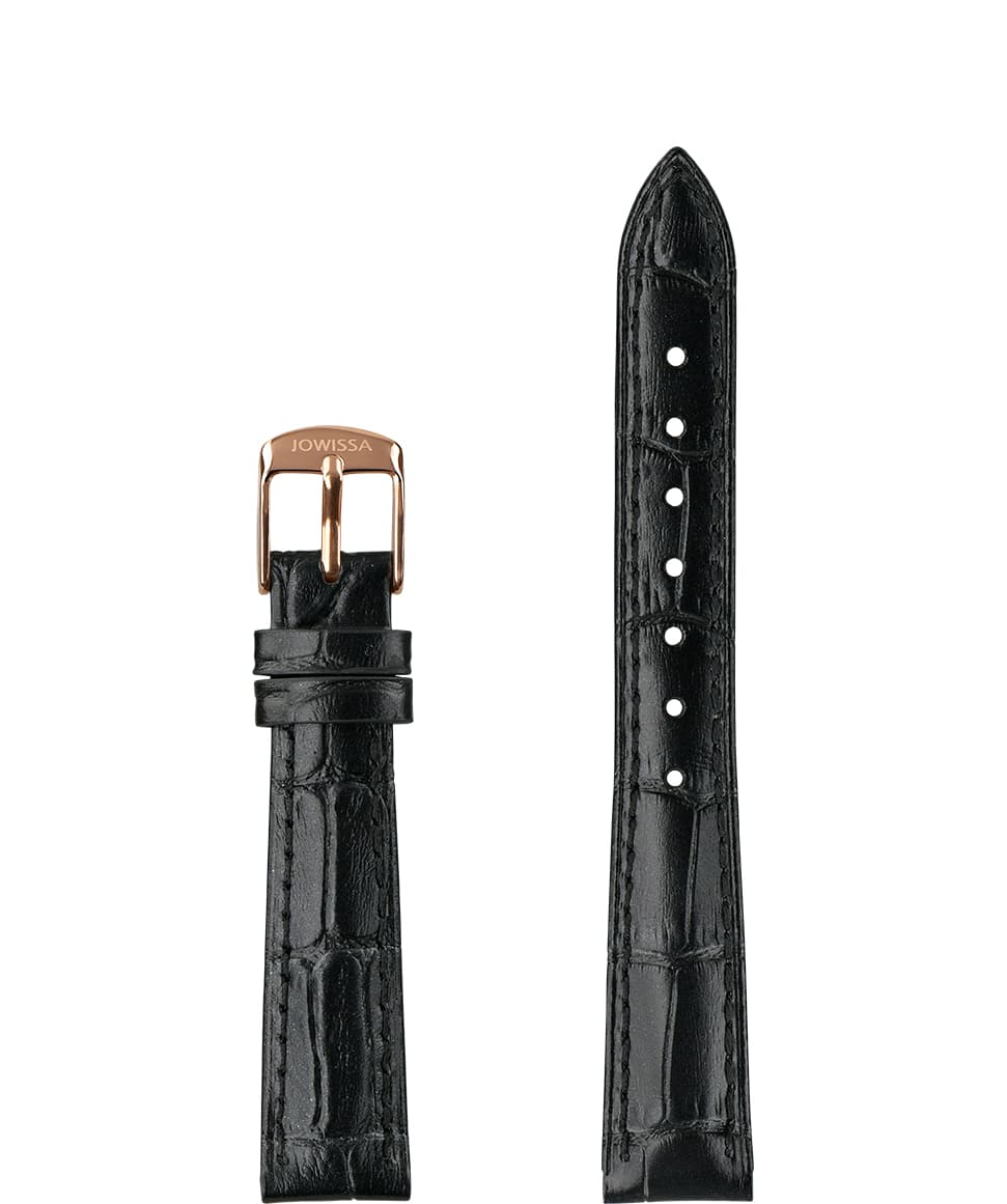 Front View of 15mm Black / Rose Pearl Croco Watch Strap E3.1441.M by Jowissa