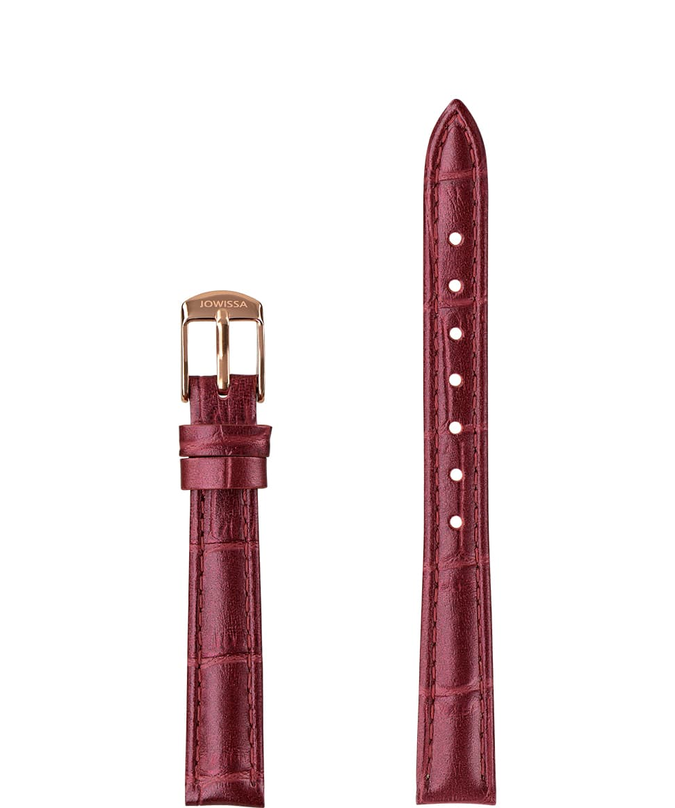 Front View of 12mm Wine red / Rose Pearl Croco Watch Strap E3.1486.S by Jowissa