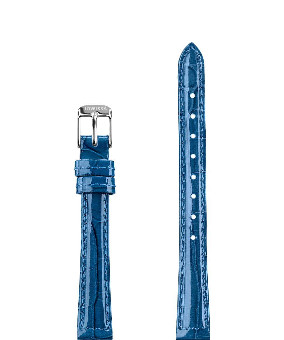 Front View of 12mm Blue / Silver Glossy Croco Watch Strap E3.1450.S by Jowissa