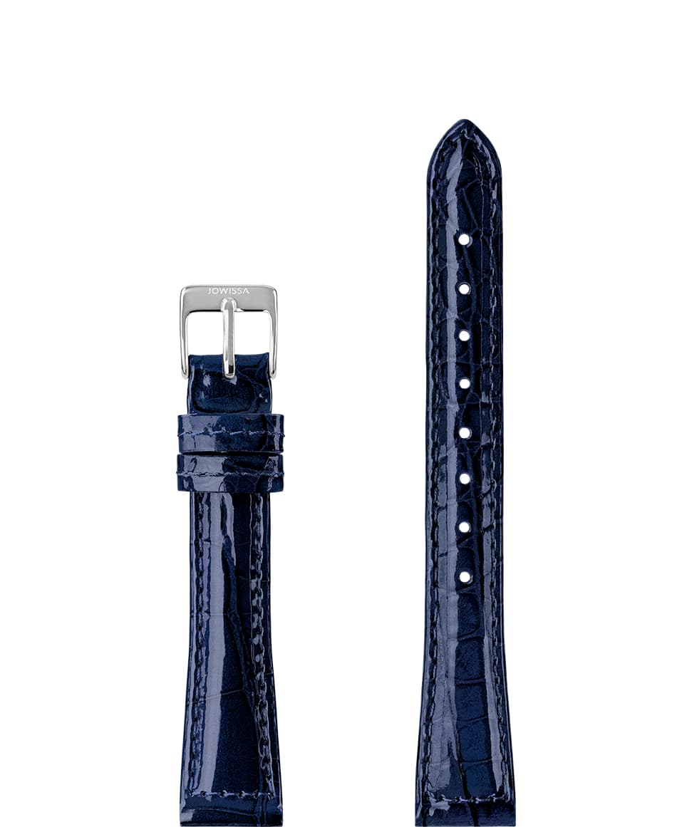 Front View of 15mm Blue / Silver Glossy Croco Watch Strap E3.1453.M by Jowissa