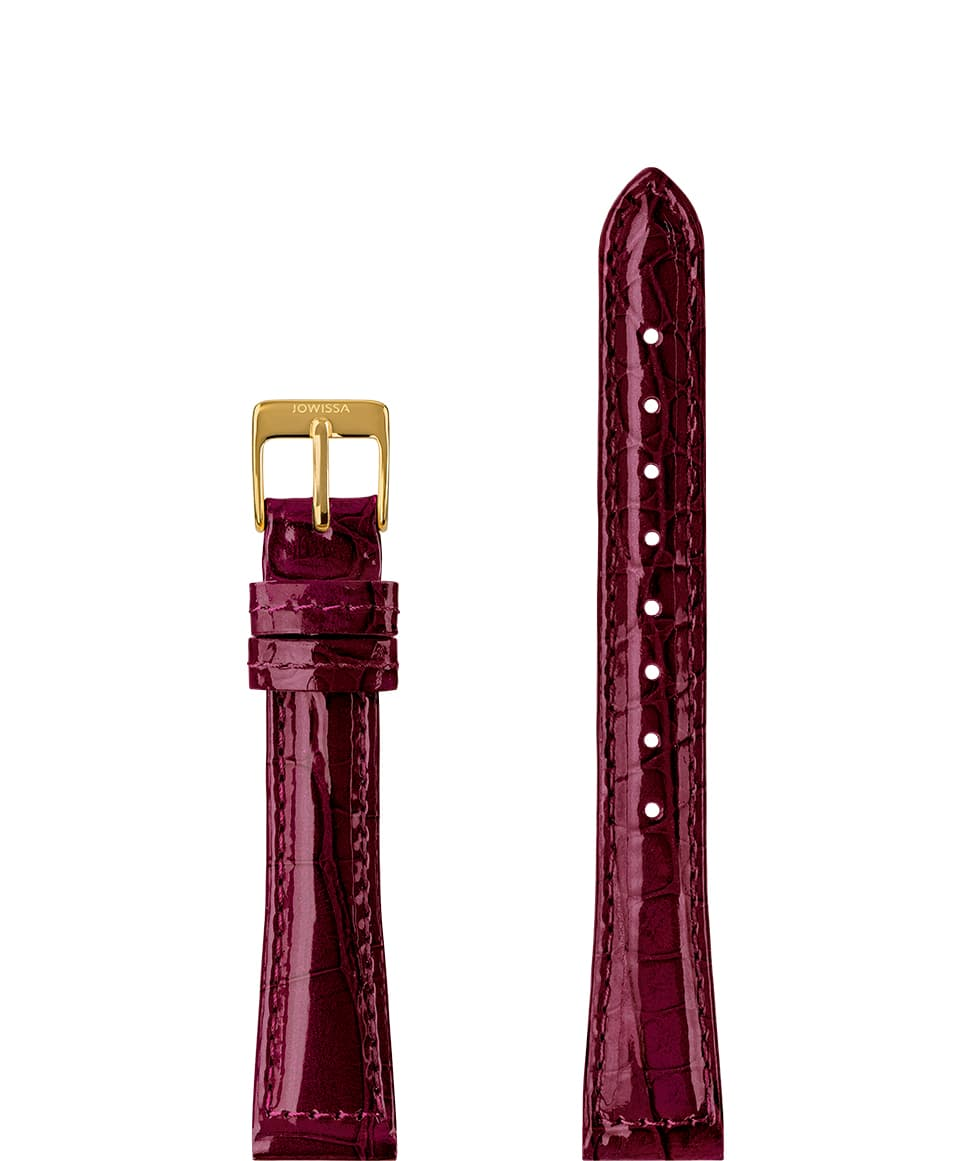 Front View of 15mm Bordeaux / Gold Glossy Croco Watch Strap E3.1457.M by Jowissa