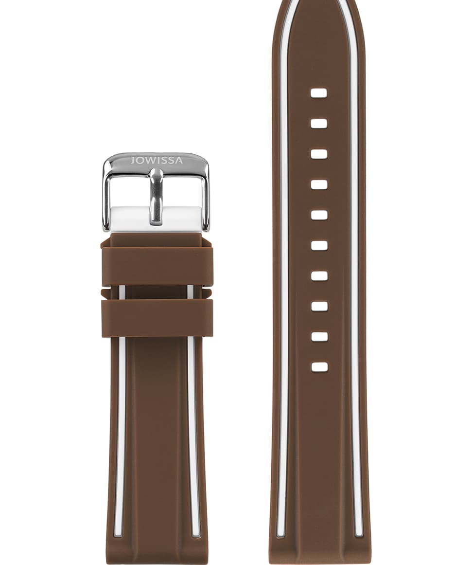 Front View of 22mm Brown / White / Silver Watch Strap E3.1362 by Jowissa