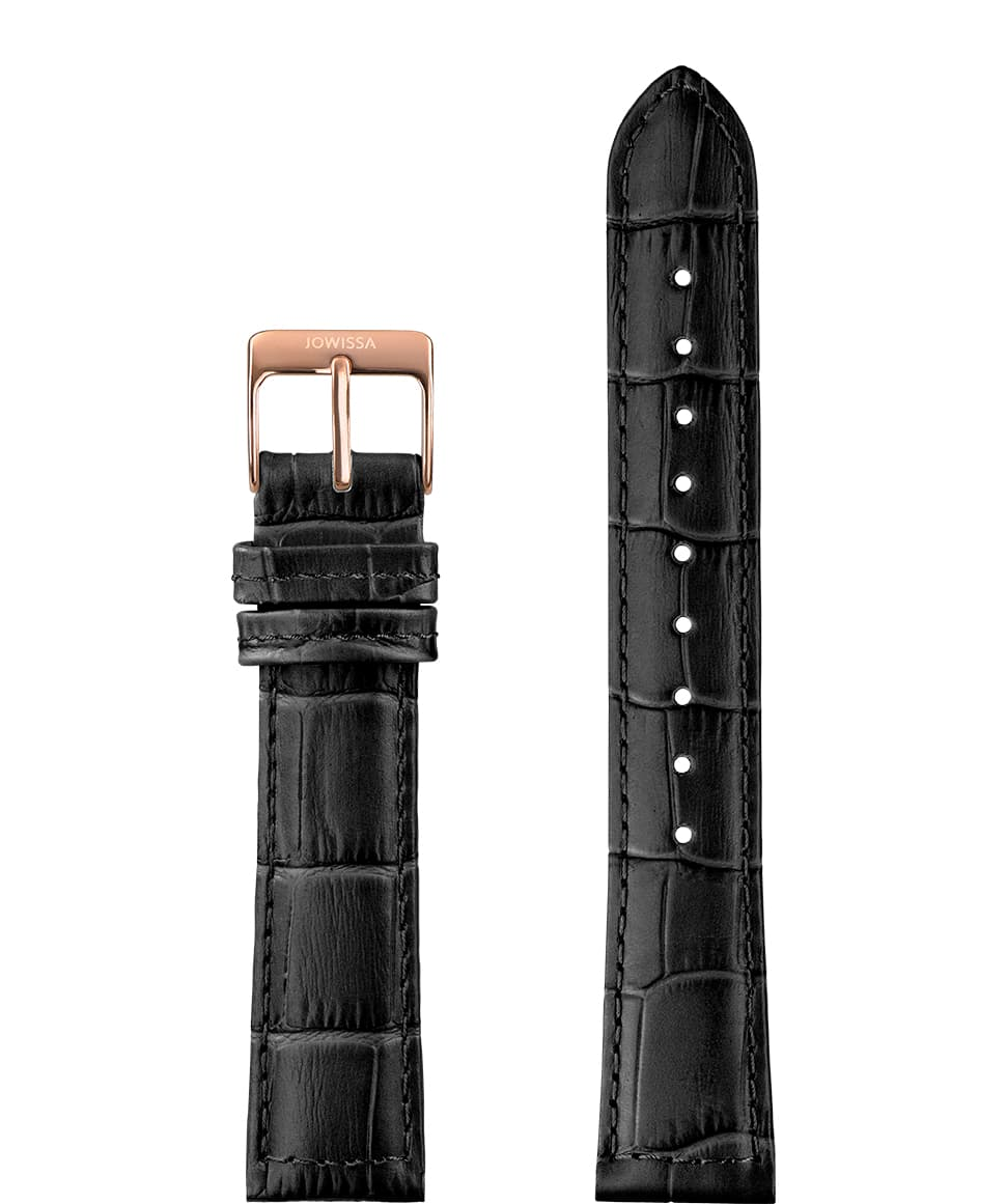 Front View of 18mm Black / Rose Mat Alligator Watch Strap E3.1158 by Jowissa