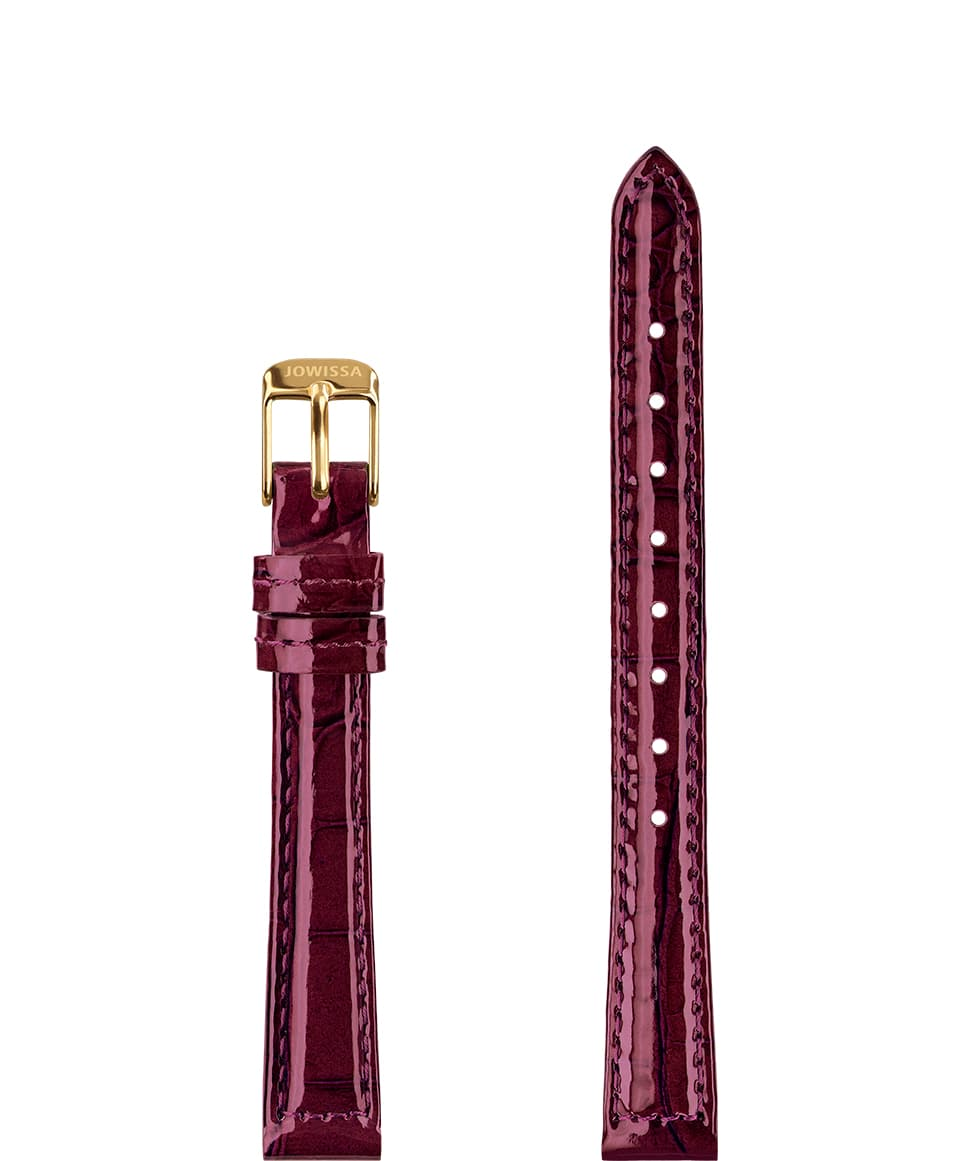 Front View of 12mm Bordeaux / Gold Glossy Croco Watch Strap E3.1457.S by Jowissa
