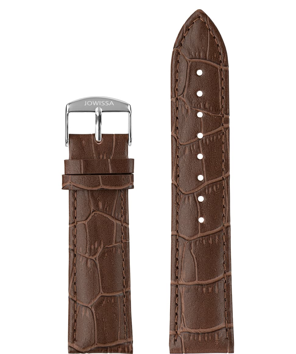 Front View of 22mm Brown / Silver Mat Alligator Watch Strap E3.1056 by Jowissa