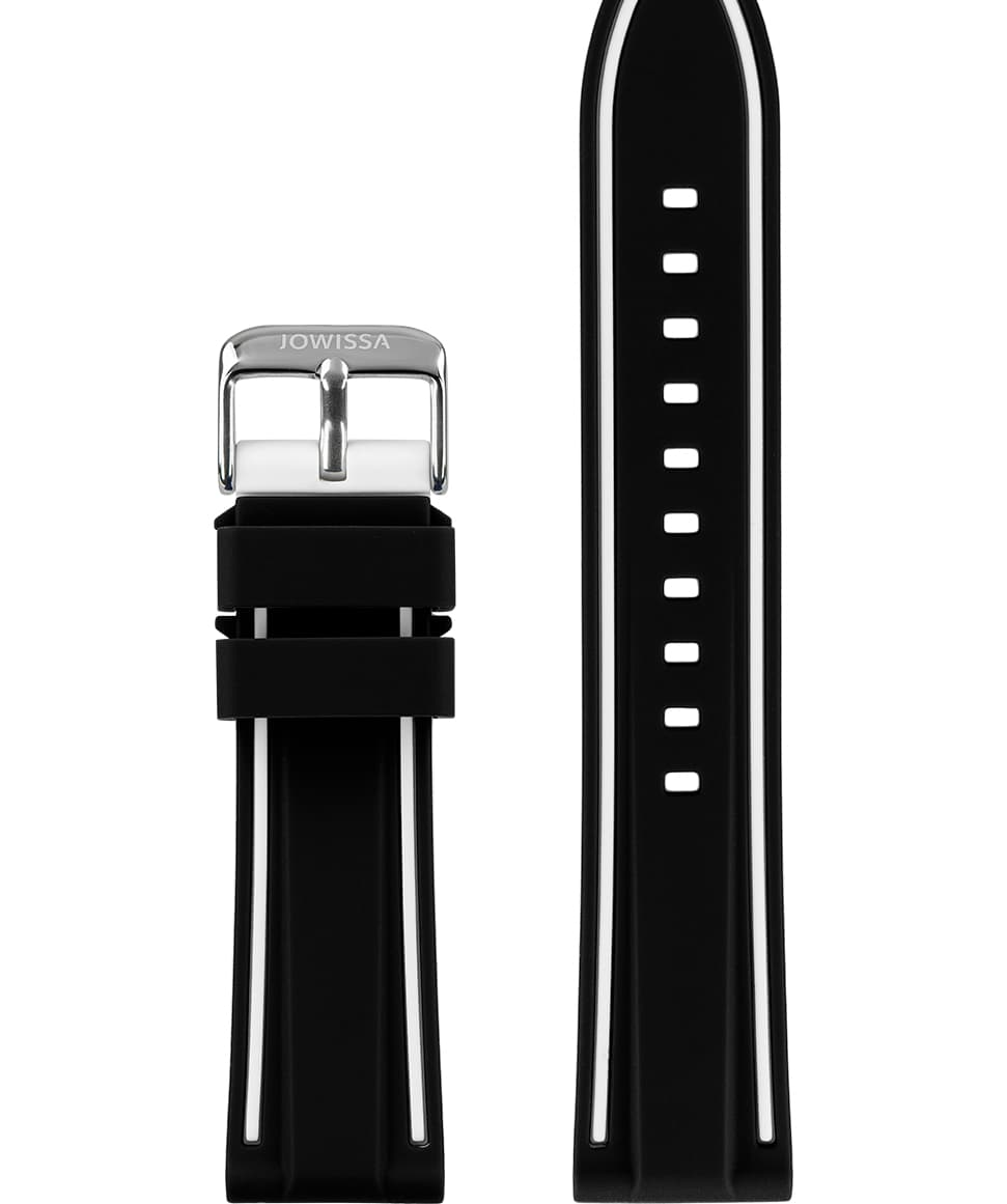 Front View of 22mm Black / White / Silver Watch Strap E3.1360 by Jowissa
