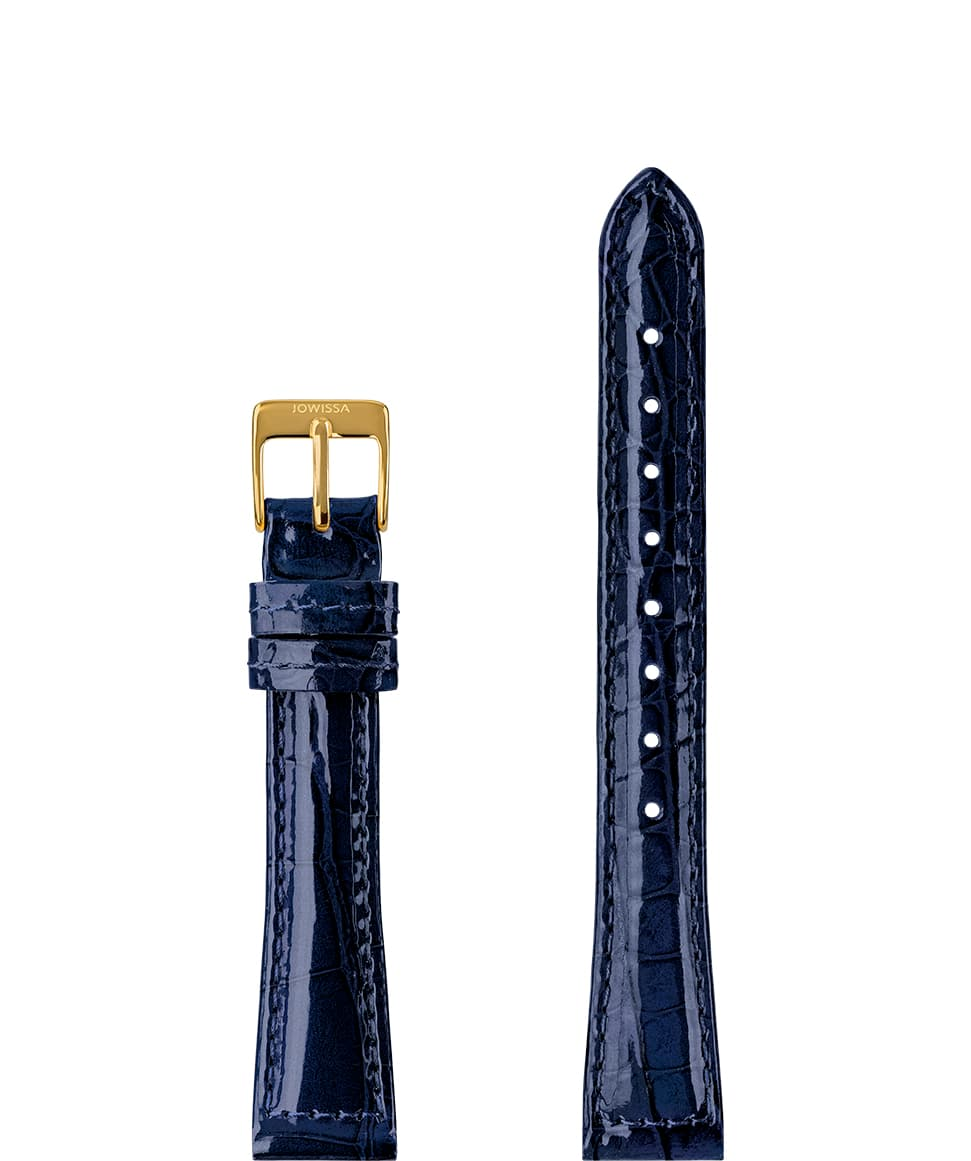 Front View of 15mm Blue / Gold Glossy Croco Watch Strap E3.1451.M by Jowissa