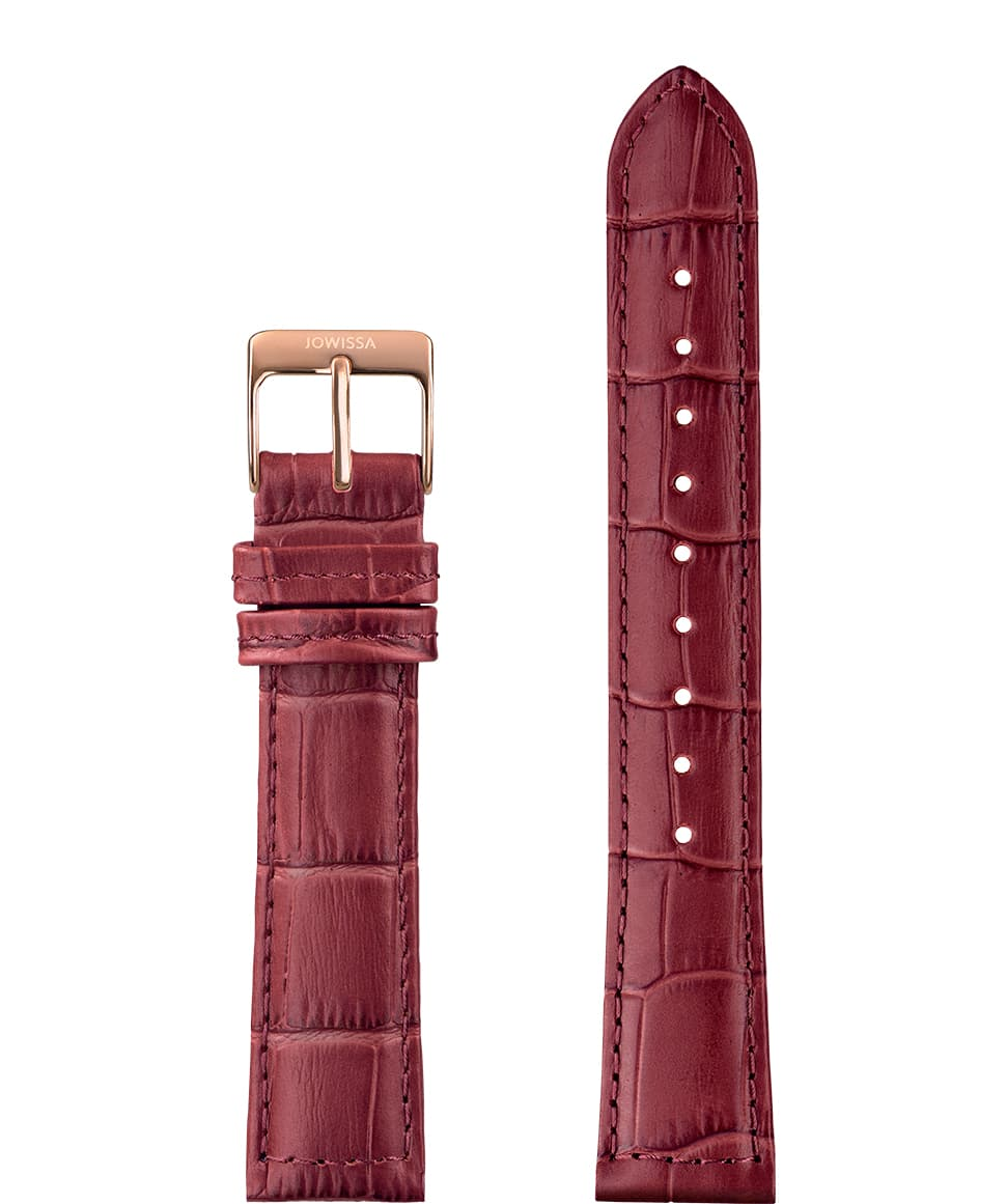 Front View of 18mm Wine red / Rose Mat Alligator Watch Strap E3.1160 by Jowissa
