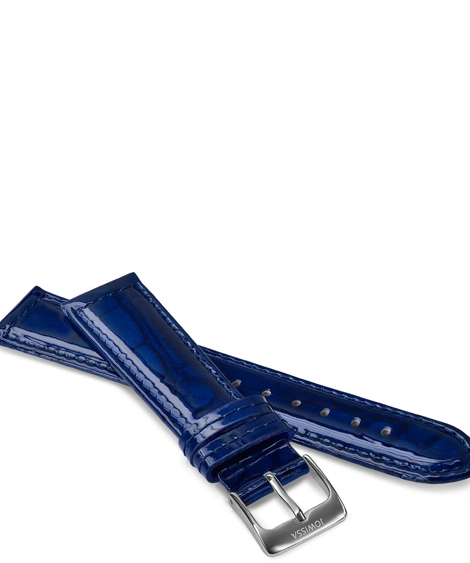 Front View of 18mm Blue / Silver Glossy Croco Watch Strap E3.1453.L by Jowissa
