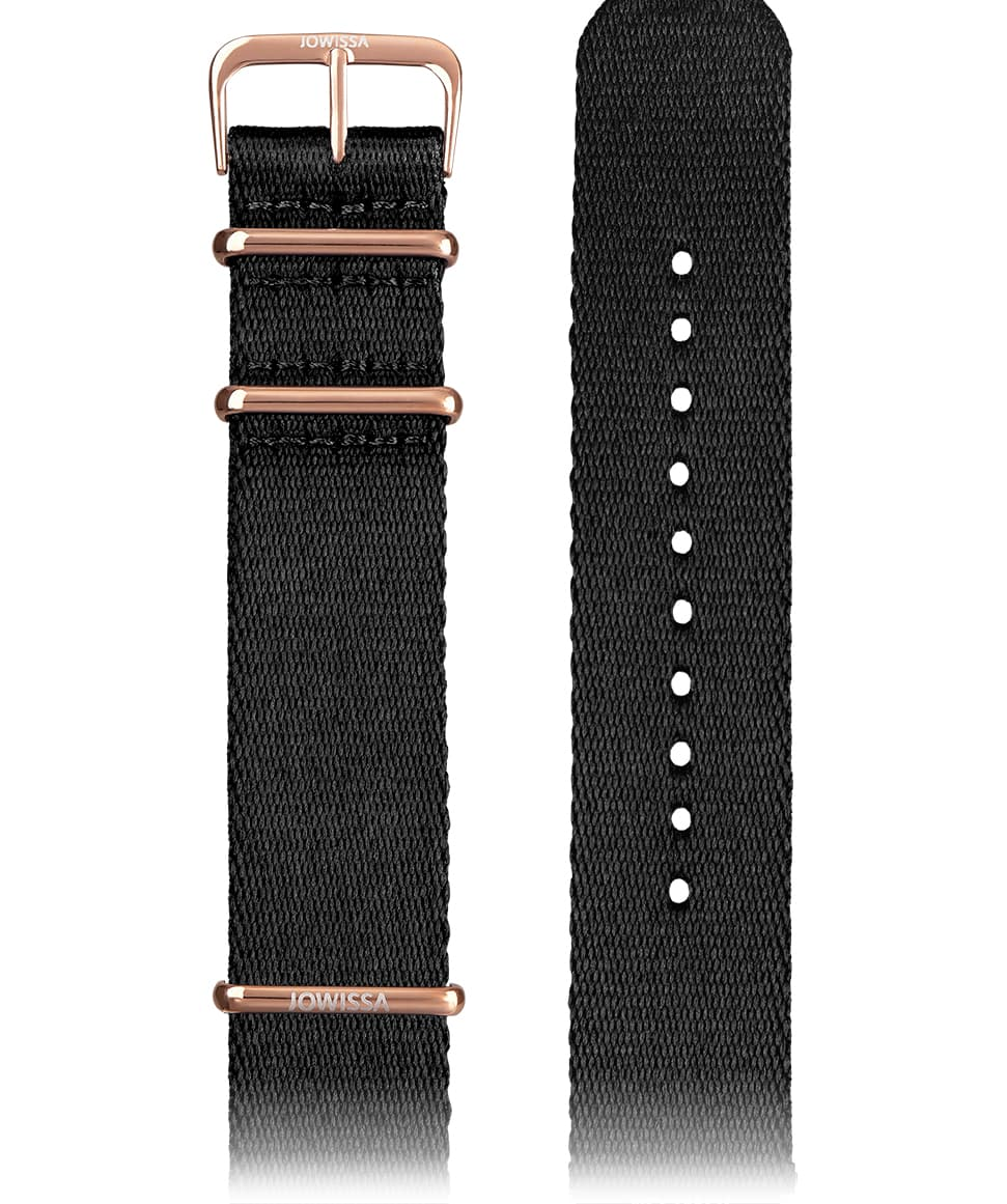 Front View of 22mm Black / Rose Watch Strap E3.1301 by Jowissa