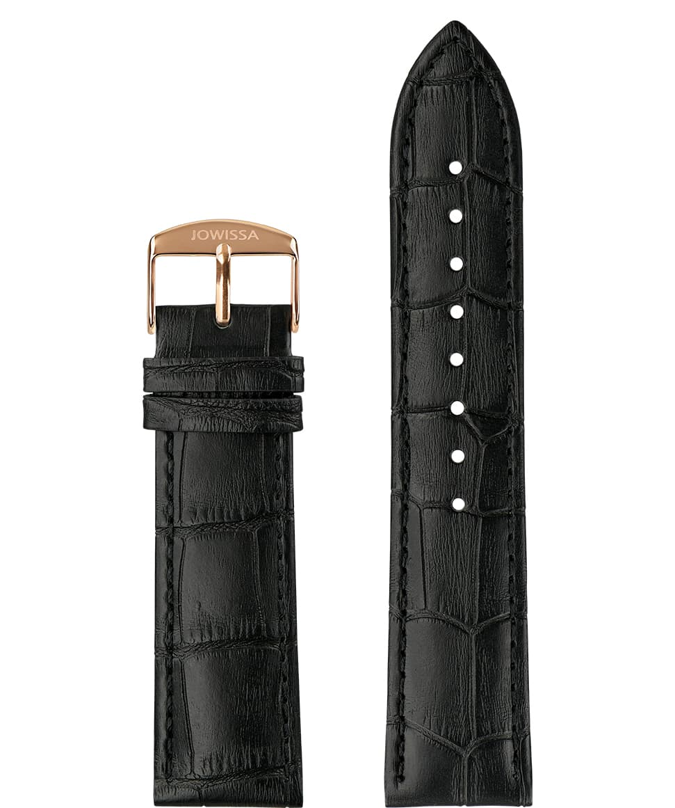 Front View of 22mm Black / Rose Mat Alligator Watch Strap E3.1443.XL by Jowissa