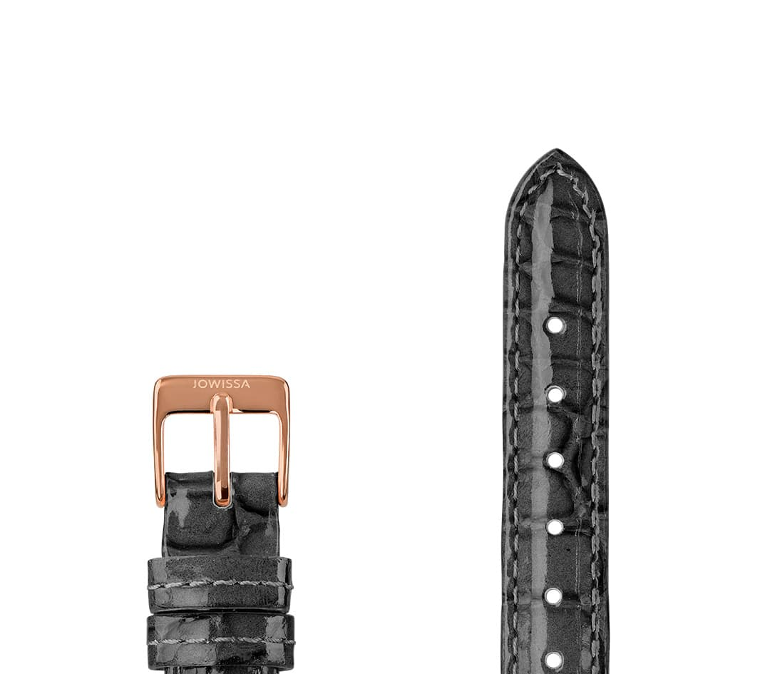 Leather Watch Strap Glossy Croco E3.1487.M