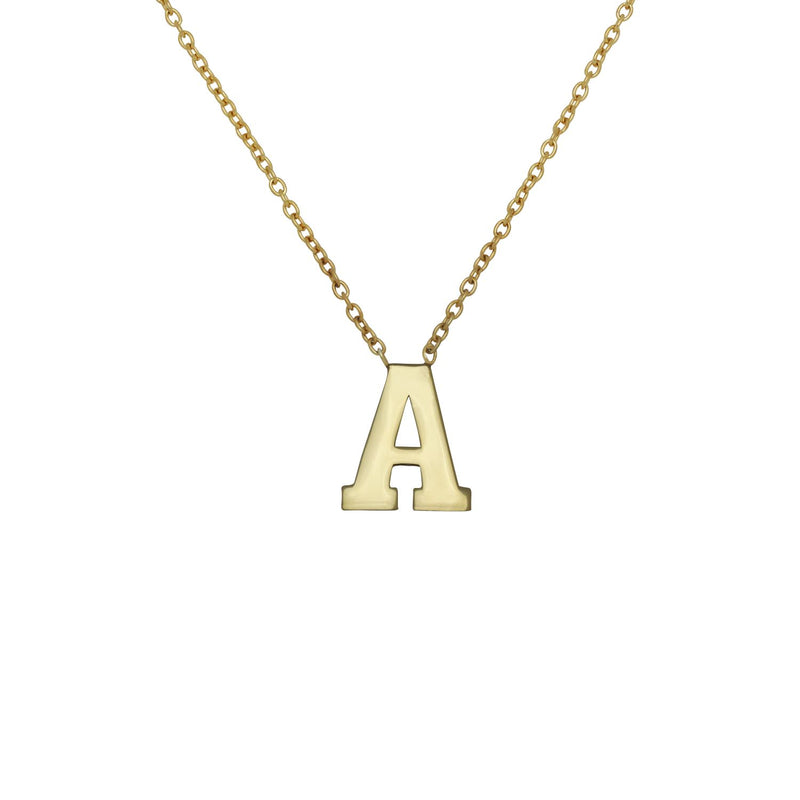 Block Initial Necklace - 14K