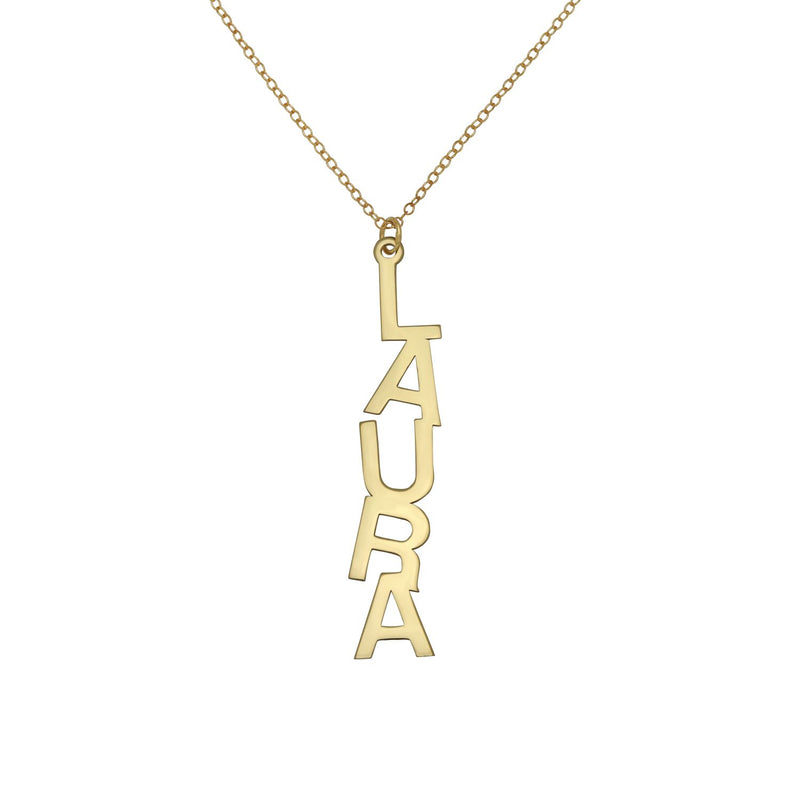 Block Name Drop Necklace - 14K