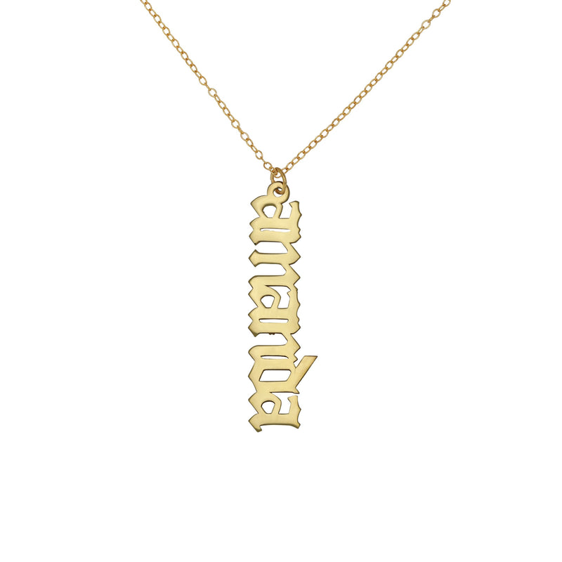 Drop Down Gothic Name Necklace - 14K