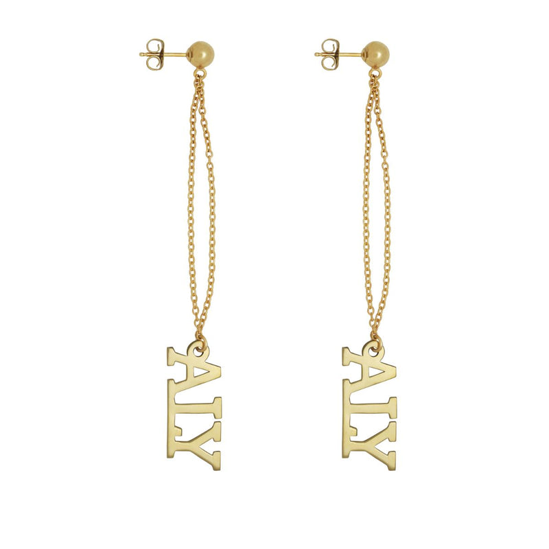 Name Drop Earrings w/ Link Chain