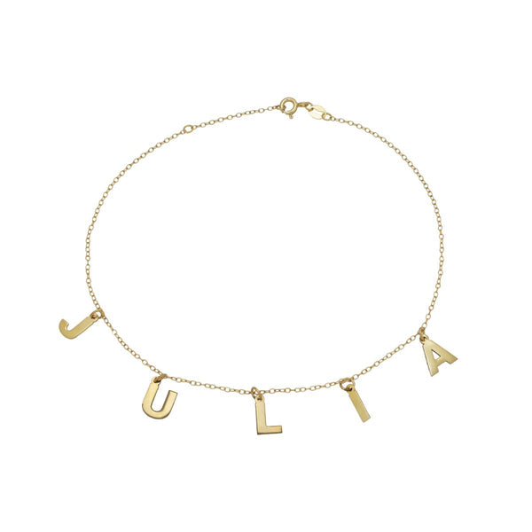 Dangling Block Name Anklet - 14K