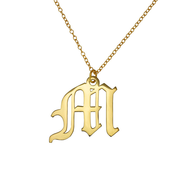 Old English Initial Necklace - 14K