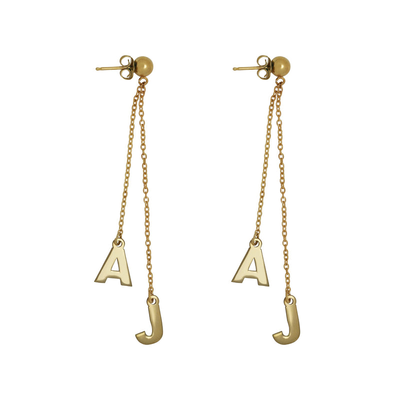 Double Initial Drop Stud Earring