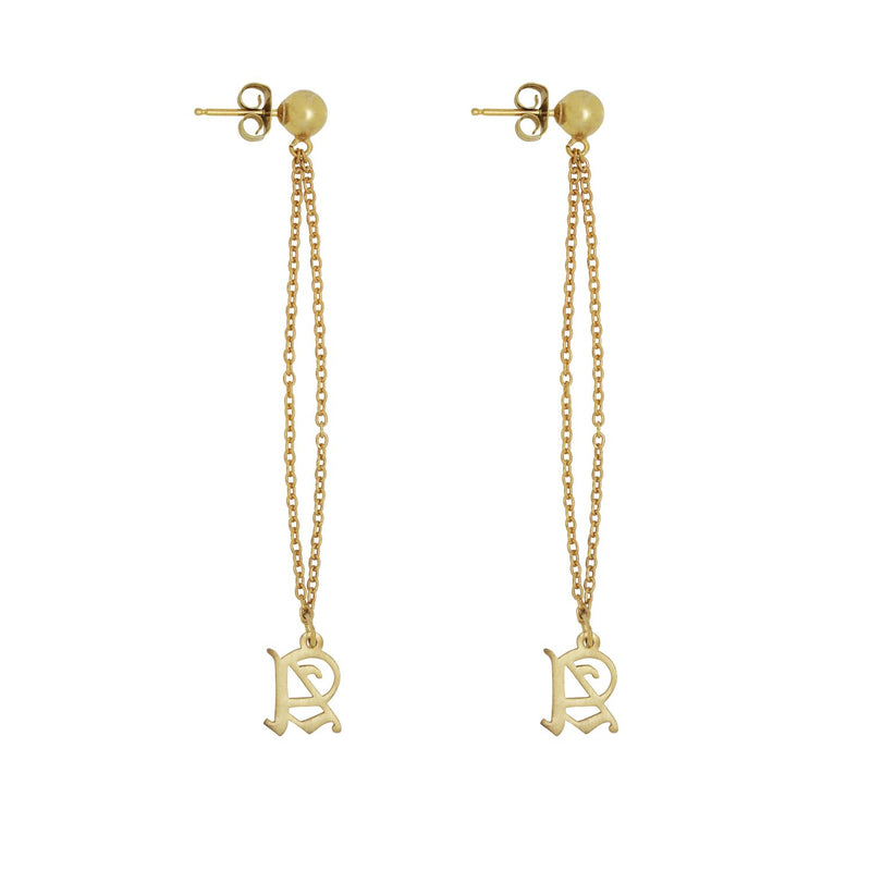 Old English Initial Drop Stud Earring