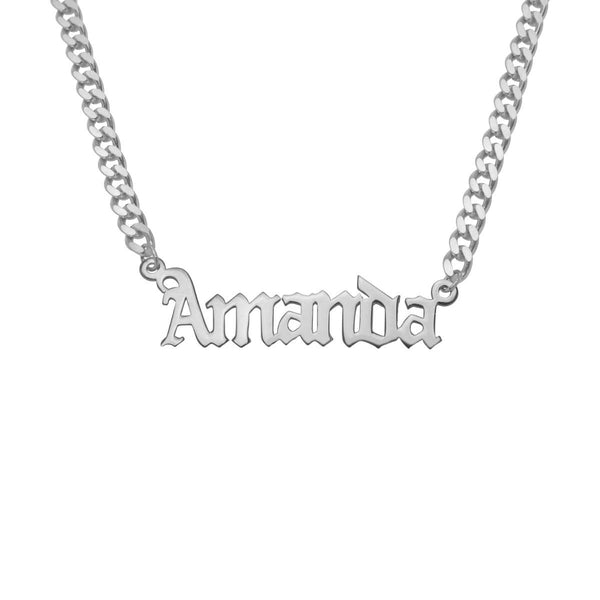 Gothic Name Necklace w/ Cuban Chain