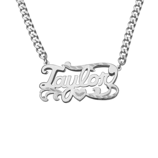Double Plated Name Necklace w/ Cuban Chain