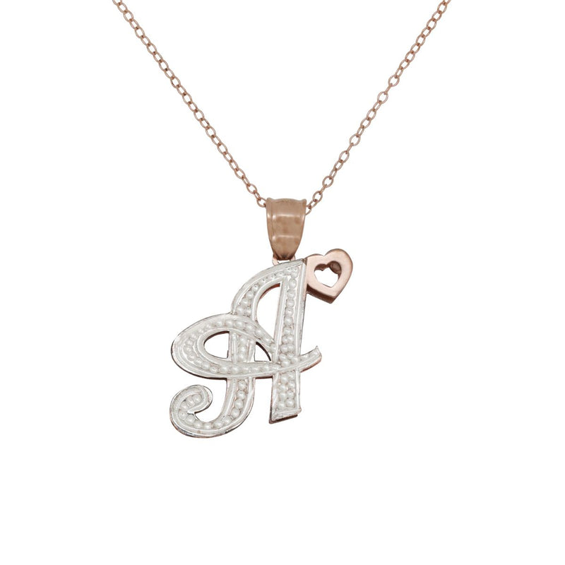 Two-tone Initial Necklace - 14k