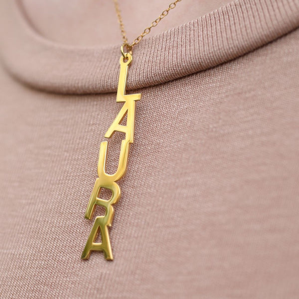 Block Name Drop Necklace