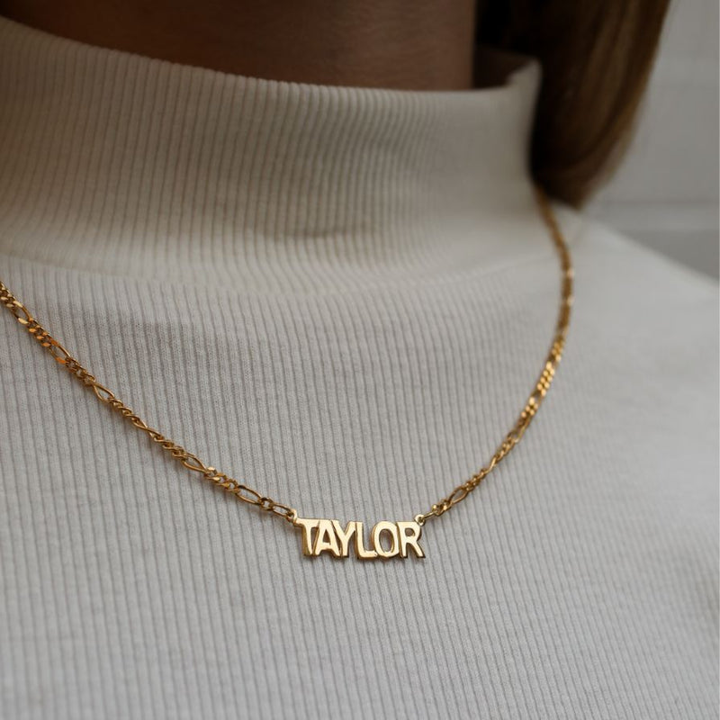 Block Nameplate Necklace With Figaro Chain