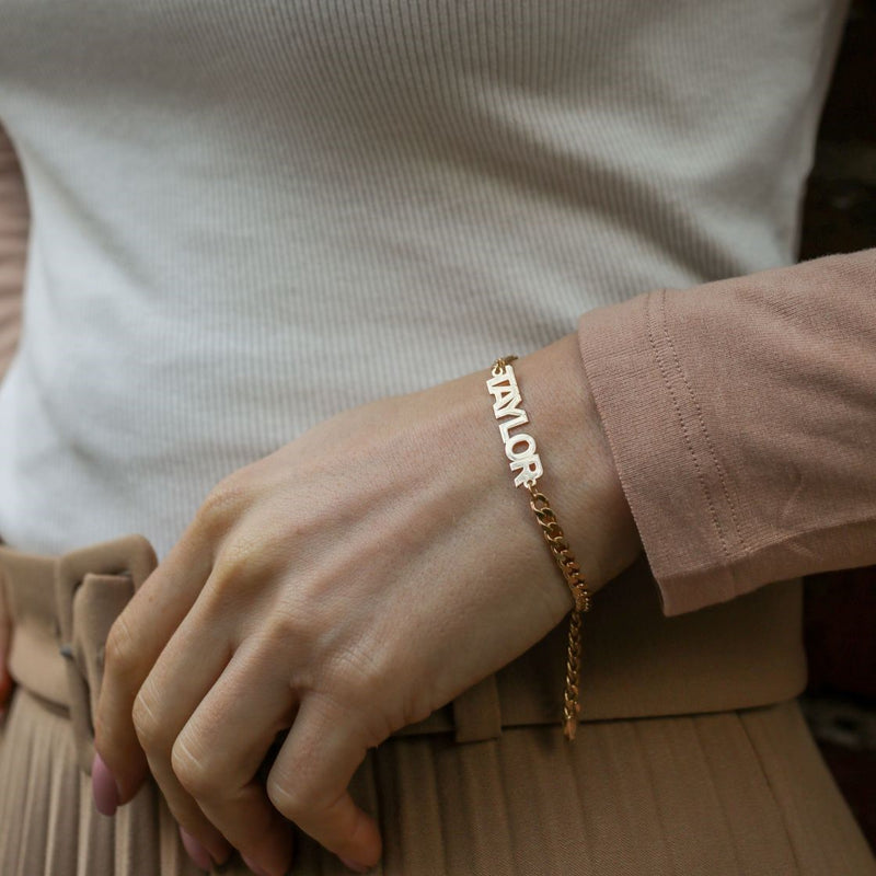 Mini Nameplate Bracelet with Cuban Chain