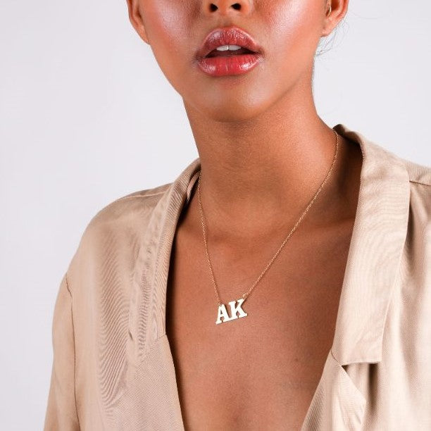 Double Initial Block Necklace - 14k