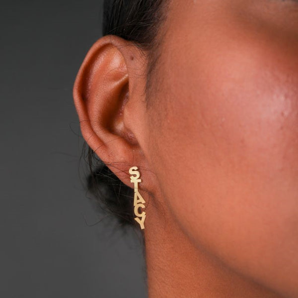 Block Name Drop Stud Earrings - 14K