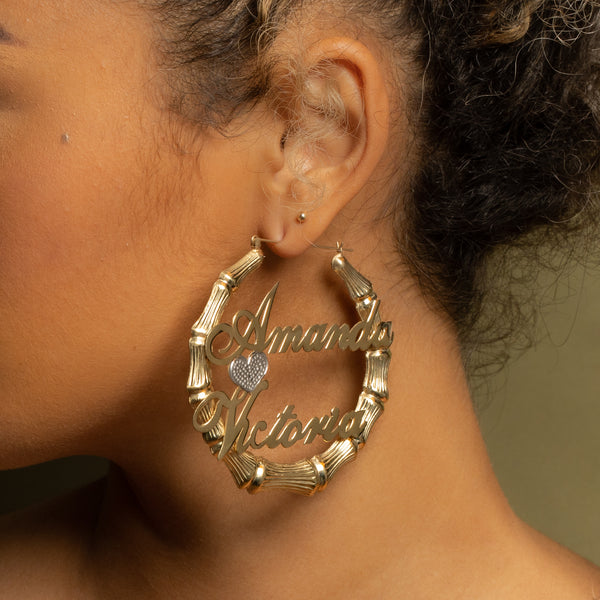 Couple's Bamboo Hoop Earrings