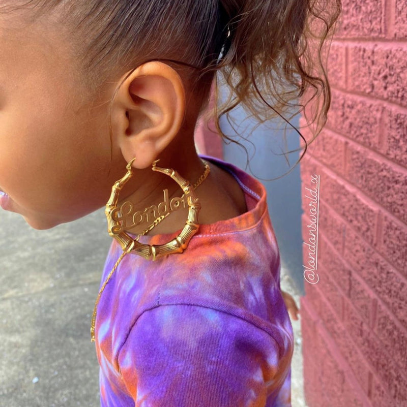 "Kids 2"" Bamboo Name Earrings"