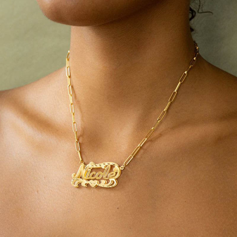Double Plated Name Necklace w/ Paper Clip Chain