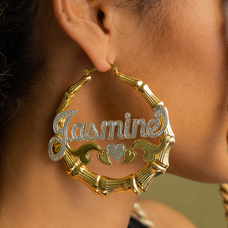 The Cupid Bamboo Hoop Name Earrings