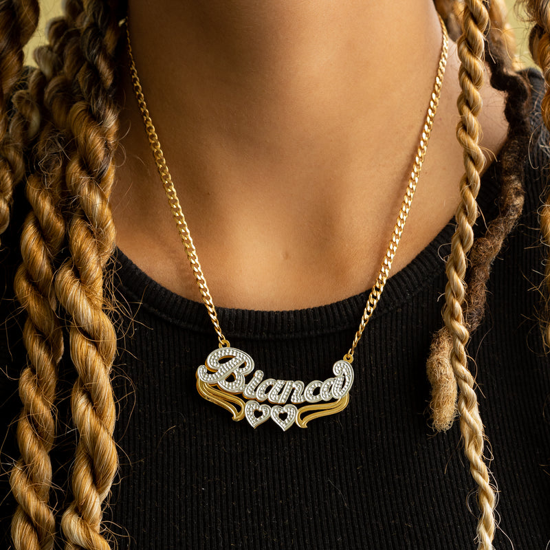 Double Plated Heart Name Necklace w/ Cuban Chain - 14K