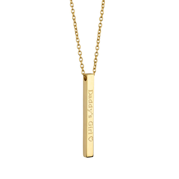 Engraved Long Bar Necklace
