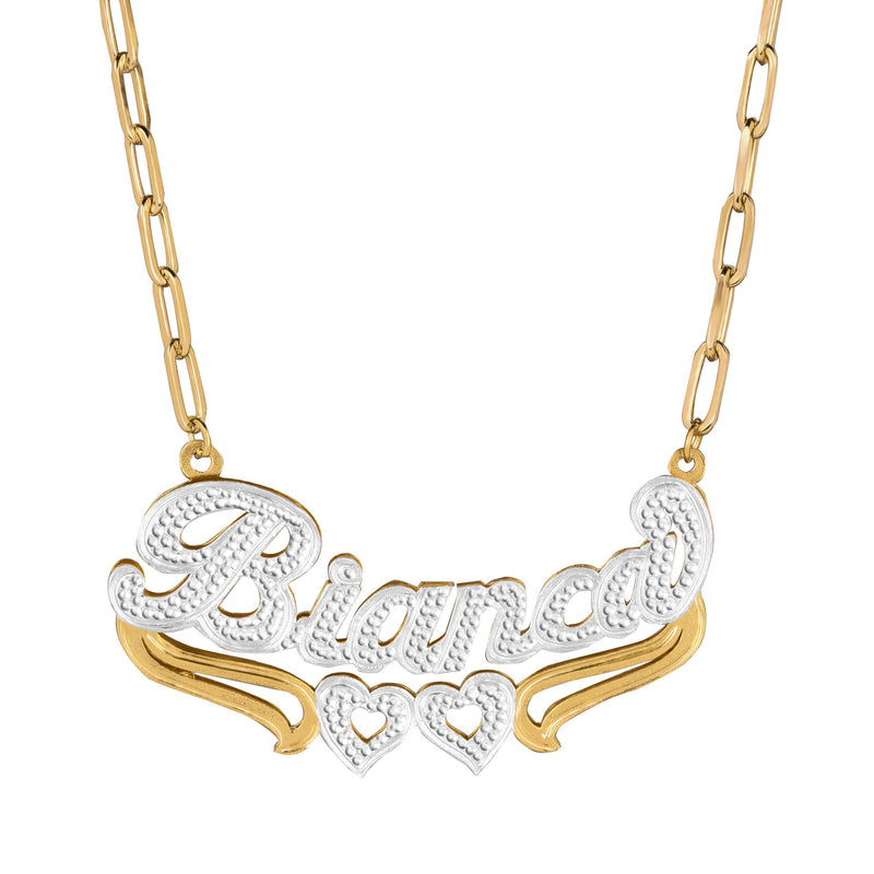 Double Plated Heart Name Necklace w/ Paper Clip Chain