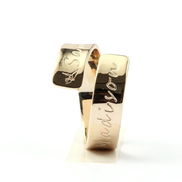 Engraved Jewelry - Adjustable Double Name Ring - 14K