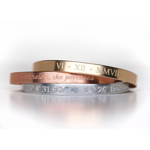 Engraved Jewelry - Engraved Cuff Bracelet