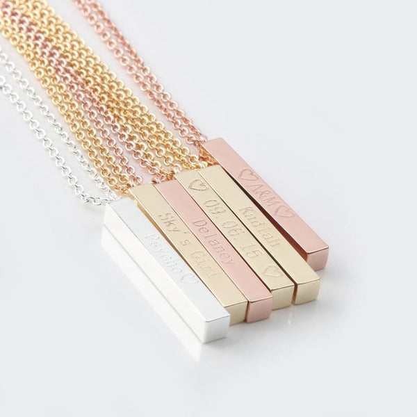 Engraved Jewelry - Engraved Long Bar Necklace