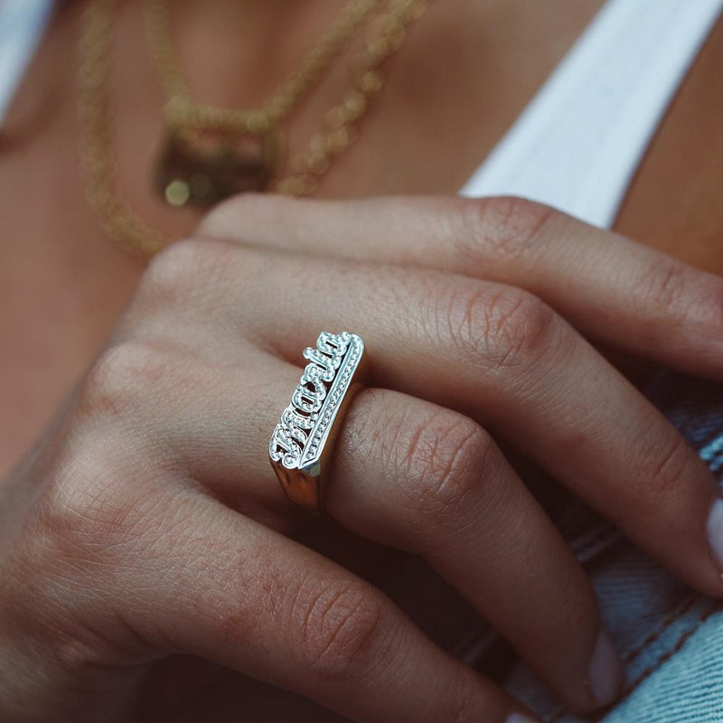 Frosted Name Ring