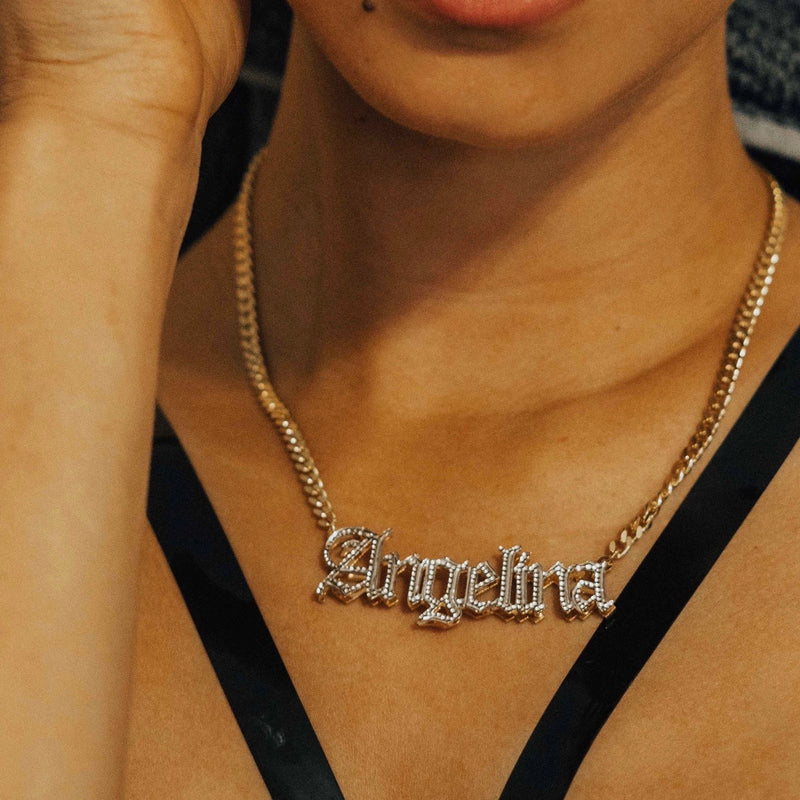 Double Plated Gothic Name Necklace w/ Cuban Chain - 14K