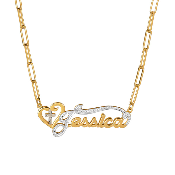 Double Plated Cross Name Necklace w/ Paper Clip Chain