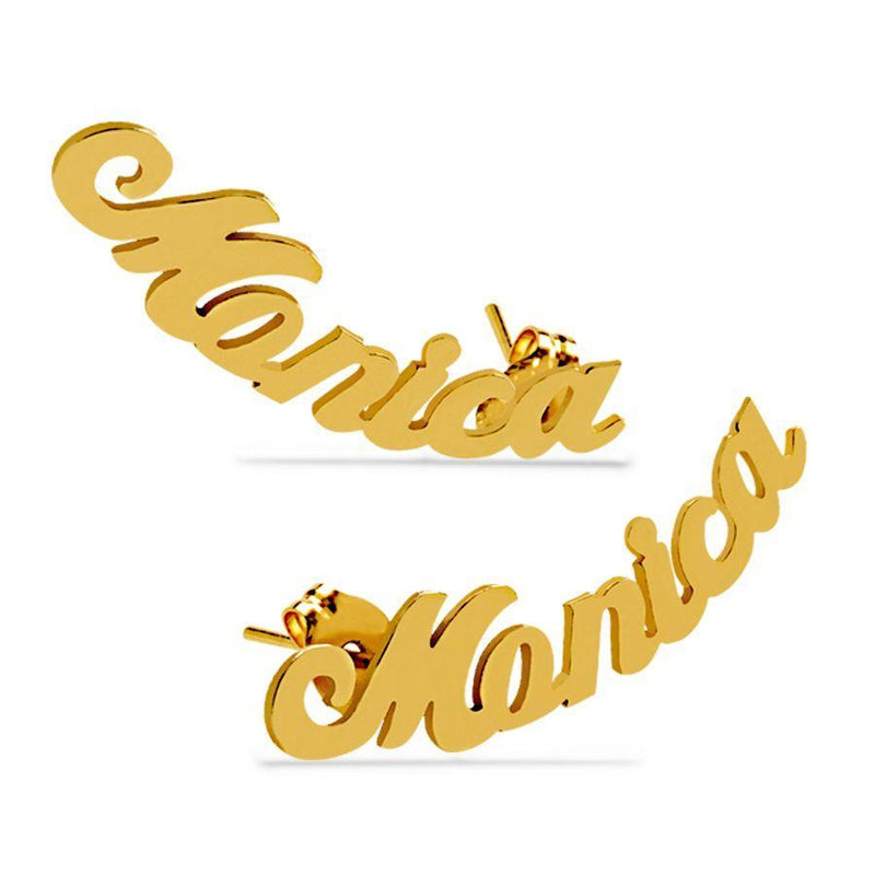 Mini Climber Name Earrings - 14K